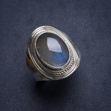 Natural Blue Fire Labradorite Handmade Unique 925 Sterling Silver Ring 8.75 Y4571