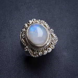 Natural Rainbow Moonstone Handmade Unique 925 Sterling Silver Ring 7.5 Y4758