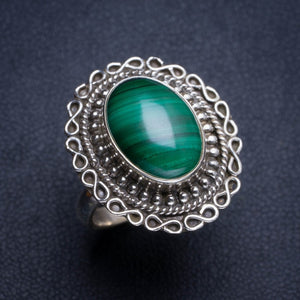 Natural Malachite Handmade Unique 925 Sterling Silver Ring 6.25 Y4845