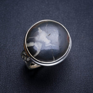 Natural Septarian Geode Handmade Unique 925 Sterling Silver Ring 6.25 Y4906