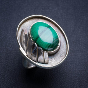 Natural Malachite Handmade Unique 925 Sterling Silver Ring 6.5 Y4930