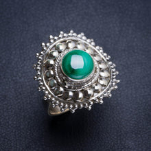Natural Malachite Handmade Hippie Style 925 Sterling Silver Ring 7 Y4939