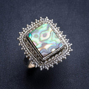 Natural Abalone Shell Handmade Unique 925 Sterling Silver Ring 8 Y4954