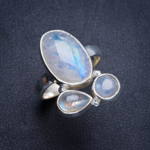 Natural Rainbow Moonstone Handmade Unique 925 Sterling Silver Ring 6.75 Y4963