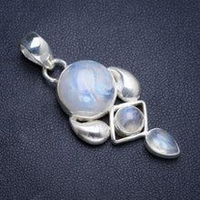 "Natural Rainbow Moonstone Handmade Unique 925 Sterling Silver Pendant 1.75"" Y5065"