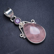 "Natural Rose Quartz and Amethyst Handmade Unique 925 Sterling Silver Pendant 1.5"" Y5091"