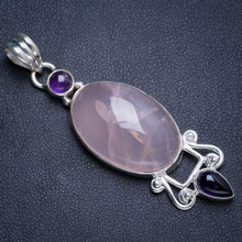 "Natural Rose Quartz and Amethyst Handmade Unique 925 Sterling Silver Pendant 2.25"" Y5095"