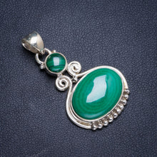 "Natural Malachite Handmade Unique 925 Sterling Silver Pendant 1.5"" Y5097"