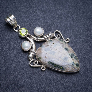"Natural Ocean Jasper and River Pearl,Peridot Handmade Unique 925 Sterling Silver Pendant 2.25"" Y5108"