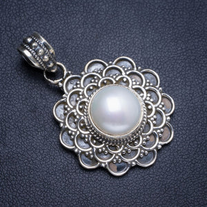 "Natural River Pearl Handmade Unique Boho 925 Sterling Silver Pendant 1.5"" Y5137"