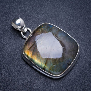 "Natural Blue Fire Labradorite Handmade Unique 925 Sterling Silver Pendant 1.75"" Y5167"