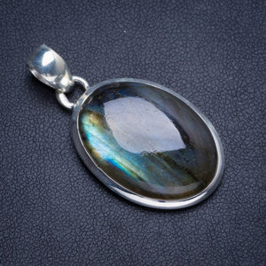 "Natural Blue Fire Labradorite Handmade Unique 925 Sterling Silver Pendant 1.75"" Y5200"