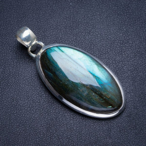 "Natural Blue Fire Labradorite Handmade Unique 925 Sterling Silver Pendant 1.75"" Y5205"