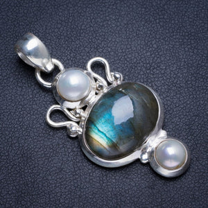 "Natural Blue Fire Labradorite and River Pearl Handmade Unique 925 Sterling Silver Pendant 1.75"" Y5238"