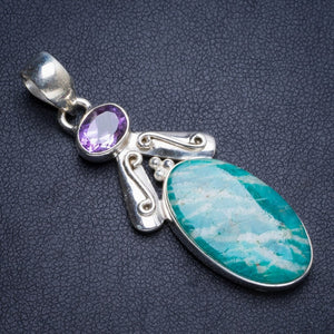 "Natural Amazonite and Amethyst Handmade Unique 925 Sterling Silver Pendant 2"" Y5257"