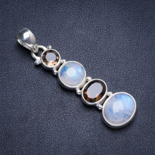 "Natural Rainbow Moonstone and Smoky Quartz Handmade Unique 925 Sterling Silver Pendant 2"" Y5262"