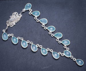 "Natural Chalcedony Handmade Unique 925 Sterling Silver Necklace16.5+1.25"" Y5339"