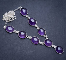 "Natural Amethyst Handmade Unique 925 Sterling Silver Necklace18+0.75"" Y5340"