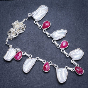 "Natural Biwa Pearl and Cherry Ruby Handmade Unique 925 Sterling Silver Necklace17.75+1.75"" Y5354"
