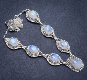 "Natural Rainbow Moonstone Handmade Unique 925 Sterling Silver Necklace18+2.25"" Y5357"