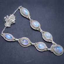 "Natural Rainbow Moonstone Handmade Unique 925 Sterling Silver Necklace18+1.75"" Y5361"