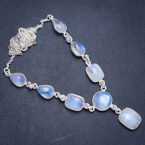 "Natural Rainbow Moonstone Handmade Unique 925 Sterling Silver Necklace19.25+0.5"" Y5383"