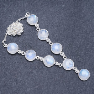 "Natural Rainbow Moonstone Handmade Unique 925 Sterling Silver Necklace 17+1"" Y5406"