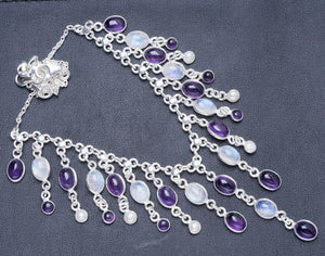 "Natural Rainbow Moonstone and Amethyst Handmade Unique 925 Sterling Silver Necklace 17.75"" Y5446"