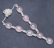 "Natural Rose Quartz Handmade Unique 925 Sterling Silver Necklace 17.5+0.5"" Y5454"