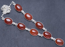 "Natural Carnelian Handmade Unique 925 Sterling Silver Necklace 18.5+0.5"" Y5471"