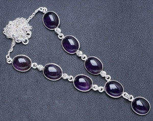 "Natural Amethyst Handmade Unique 925 Sterling Silver Necklace 17+1"" Y5486"