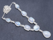 "Natural Rainbow Moonstone Handmade Unique 925 Sterling Silver Necklace 19+1"" Y5495"