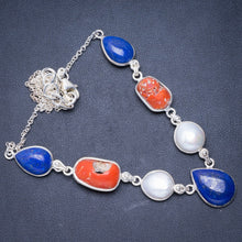 "Natural Red Coral,Lapis Lazuli and River Pearl 925 Sterling Silver Necklace 16.5+1.75"" Y5535"
