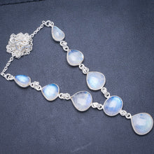 "Natural Rainbow Moonstone Handmade Unique 925 Sterling Silver Necklace 17.5+0.75"" Y5544"