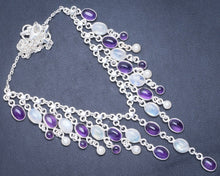 "Natural Rainbow Moonstone,Amethyst and River Pearl 925 Sterling Silver Necklace 16+1.75"" Y5559"