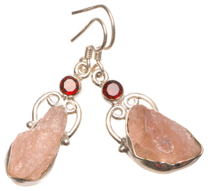 "Natural Crystal and Garnet Handmade Mexican 925 Sterling Silver Earrings 1.5"" W0046"