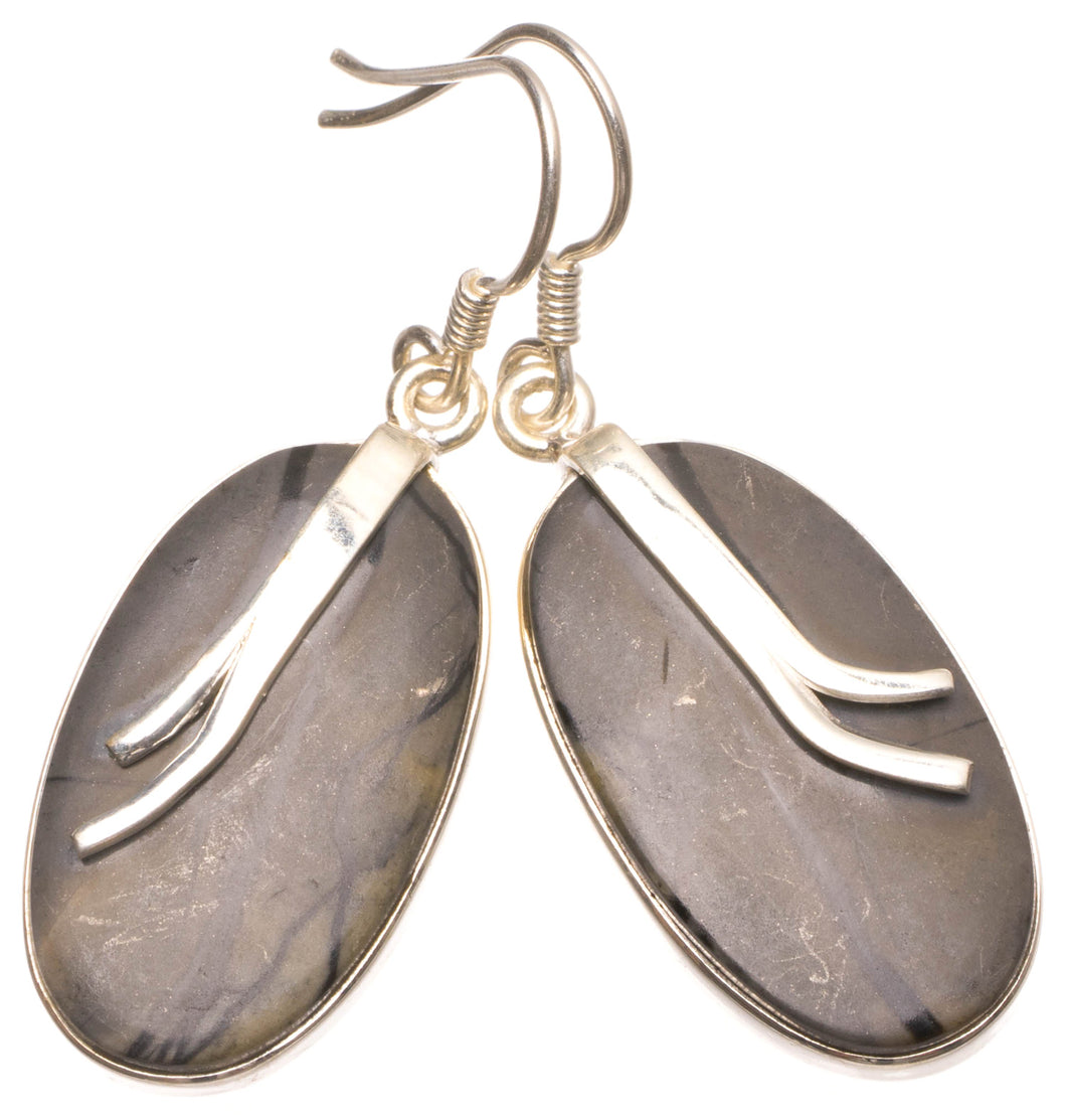 Natural Picasso Jasper Handmade Unique 925 Sterling Silver Earrings 1.75