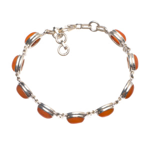 "Natural Carnelian Handmade Indian 925 Sterling Silver Bracelet 6 3/4-7 1/2"" W0272"