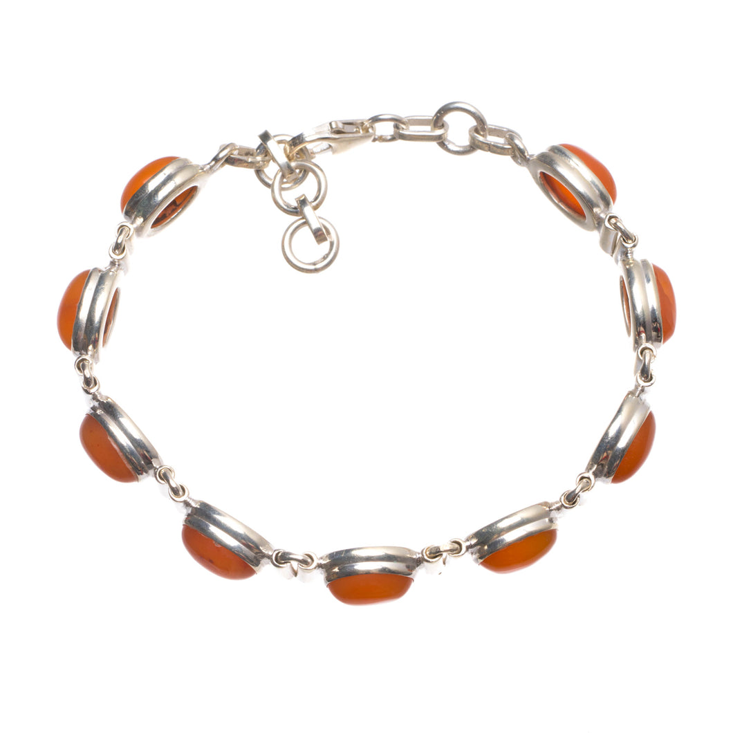 Natural Carnelian Handmade Indian 925 Sterling Silver Bracelet 6 3/4-7 1/2