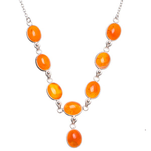 "Natural Carnelian Handmade Unique 925 Sterling Silver Necklace 16.75"" W0288"