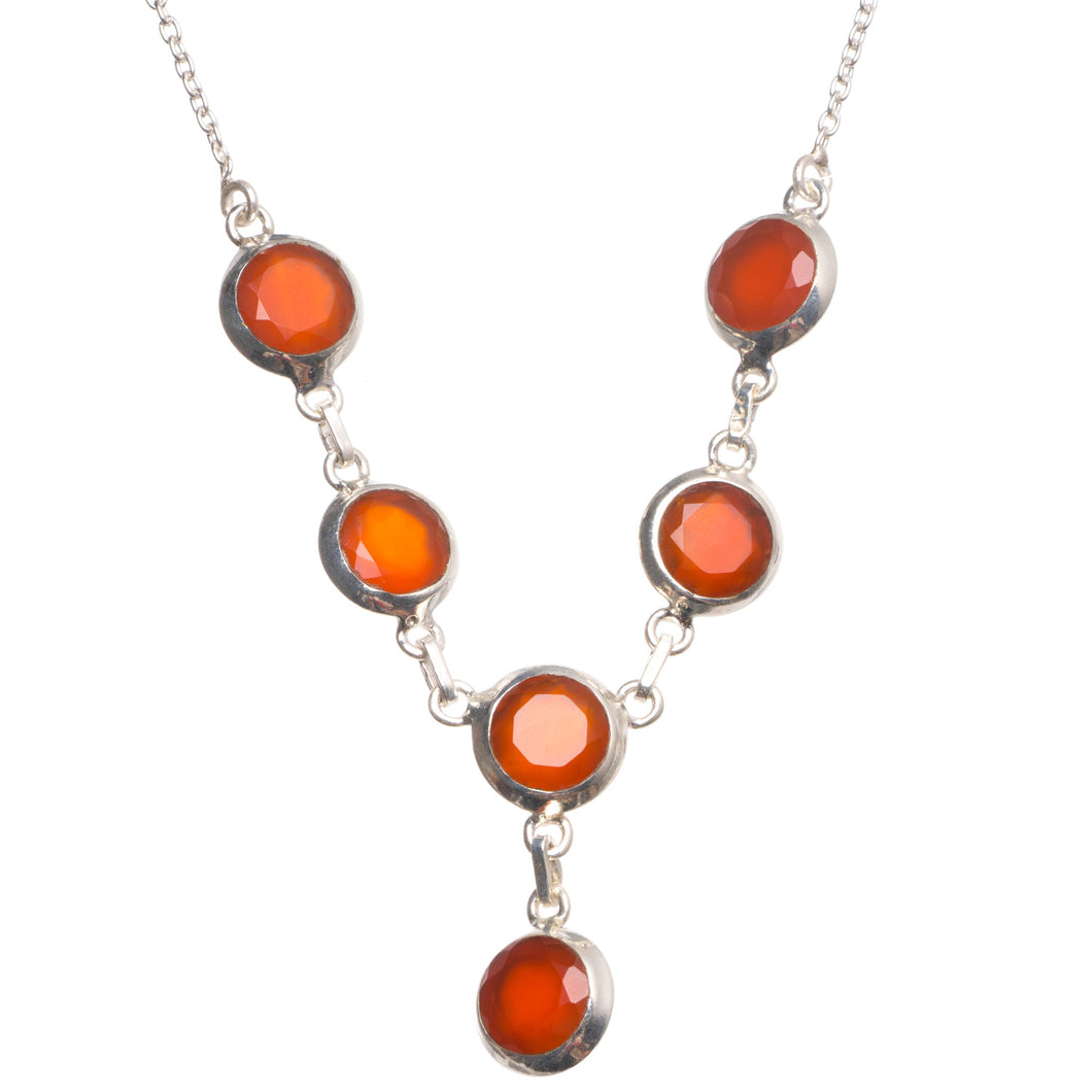 Natural Carnelian Handmade Indian 925 Sterling Silver Necklace 19.25