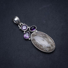 "Natural Crazy Lace Agate and Amethyst Handmade Indian 925 Sterling Silver Pendant 2"" W0162"