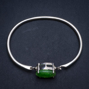 Natural Emerald Handmade Mexican 925 Sterling Silver Bracelet, US size 6 W0236
