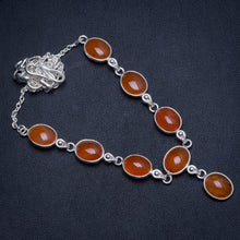 "Natural Carnelian Handmade Vintage 925 Sterling Silver Necklace 16.75"" W0280"