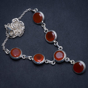 "Natural Carnelian Handmade Indian 925 Sterling Silver Necklace 19.25"" W0297"