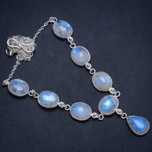 "Natural Rainbow Moonstone Handmade Boho 925 Sterling Silver Necklace 17.5"" W0309"