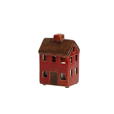 Petite Chalet Tea Light House Brown Red