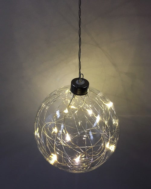 Thread sphere hanging glass light