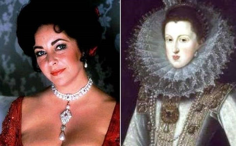 La Peregrina on Elizabeth Taylor and Elizabeth 1