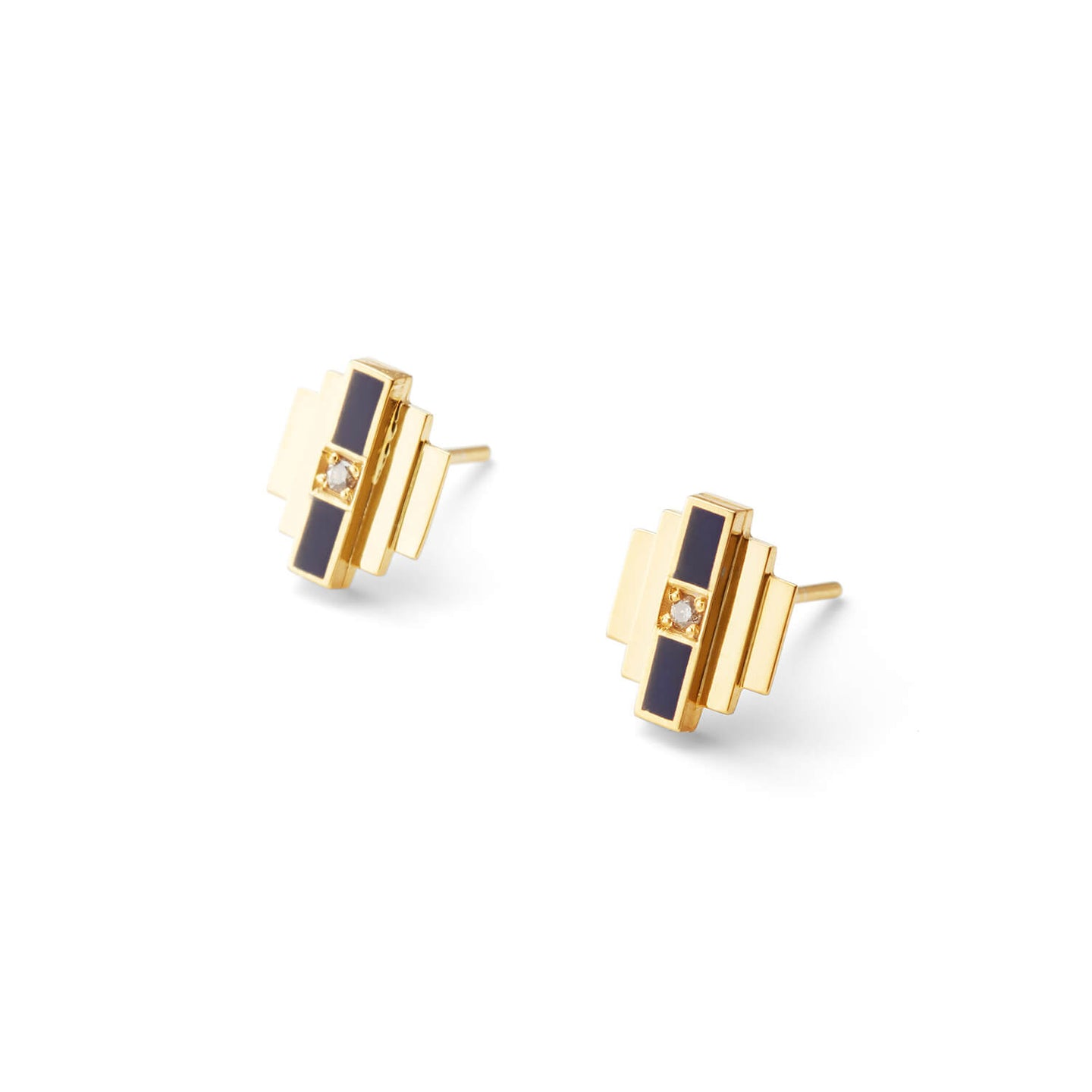 Gold Delaunay Diamond Stud Earrings with Black Enamel